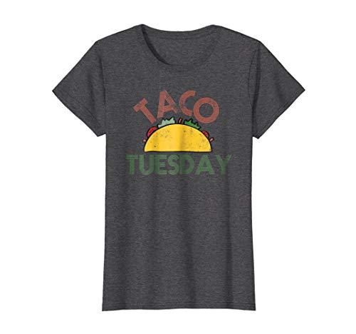 Womens Taco Tuesday Fun Distressed Food Shirt Large Dark Heather