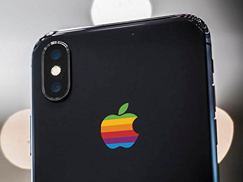 the best attitude 2e409 29640 Retro Apple Logo Decal Sticker for iPhone X, iPhone 7 Plus, iPhone 8 Plus
