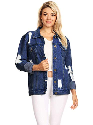 Embroidered Stretch Sweatshirt - Anna-Kaci Womens Oversized Loose Jean Coats Long Sleeve Boyfriend Denim Jacket Coat (XX-Large, Indigo)