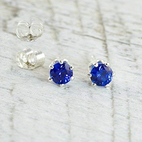 Lab Created Sapphire 4mm Sterling Silver Stud Earrings September Birthday Gift For Women (Ring Created Lab Sapphire)