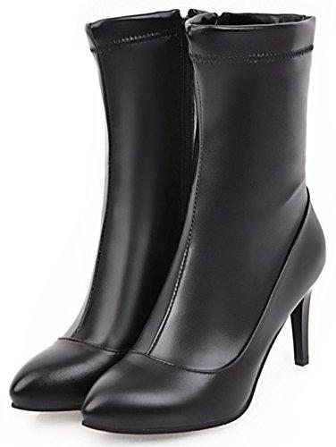 Mofri Zipper Boots Sexy Mid Women's Toe Black Calf Heel Stiletto Pointed High Side wUTArwOxq