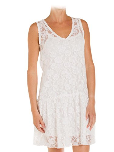 regular frau stil 494 fit plissee makramee ärmelloses Jeans Weiß Carrera unifarben für 001 Kleid xIYwyZAqzS