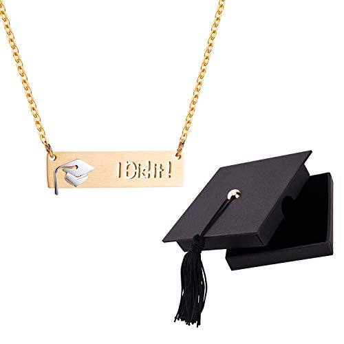 Graduation Gift Necklace for Her 2019 Graduation Cap Bar Pendant necklace Inspirational Gift for Women Girls