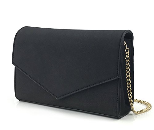 Minimalist Evening Envelope Clutch Chain Shoulder Bag Women Faux Leather Suede Purse ()