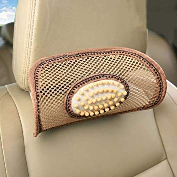 Uniqus Universal Summer Ice Silk Mesh Breathable Cool Massage Head Mat with Maple Wooden Bead for Car Family Office(Khaki)