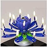 Liroyal The Amazing Happy Birthday Music Candle Novelty Blooming Lotus Flower Party Lighting Decoration Blue
