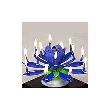 Liroyal The Amazing Happy Birthday Music Candle Novelty Blooming Lotus Flower Party Lighting Decoration Blue Amazoncouk Toys Games