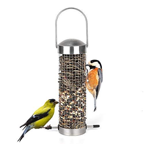 Mesh Tube Feeder - Bird Feeder Outdoor Wild Bird Feeders for Outside Metal Mesh Tube Peanut Feeder Goldfinch Feeder Sunflower Feeders for Birds Woodpeckers, Cardinals, Chickadees, Nuthatches, Titmouses, Sparrows