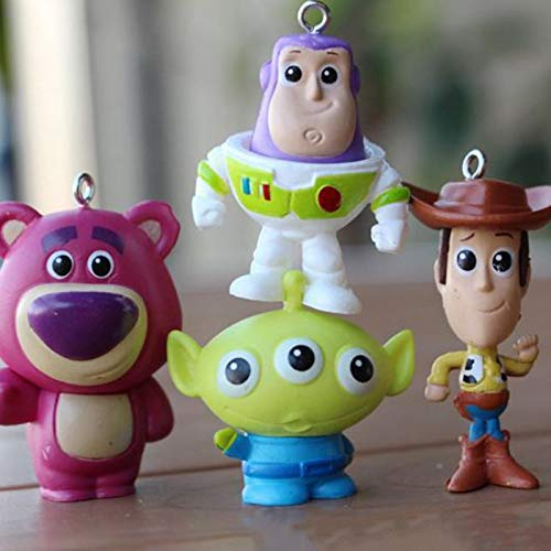 PAPCOOL Set 4 Toy Figures 1.3 - 2 inch Hot Toys Woody Buzz Lightyear Mini Small Characters Action Figure Christmas Collectibles Halloween Collectable Gifts Collectible Big Large Gift for Little Kids