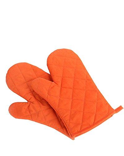 Oven Mitts, Premium Heat Resistant Kitchen Gloves Cotton & Polyester Quilted Oversized Mittens, 1 Pair Orange