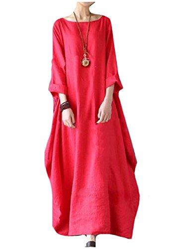 Coolred Femmes Taille Plus Solide Manchon Demi-tour De Cou Rouge Vestimentaire Décontracté