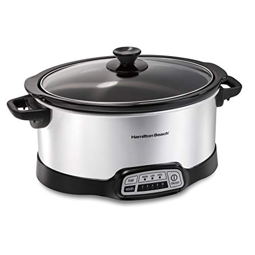 Hamilton Beach Slow Cooker Crock with Touch Pad and Flexible Easy Programming Options, 7 Quart Dishwasher Safe Pot, Silver (33473)