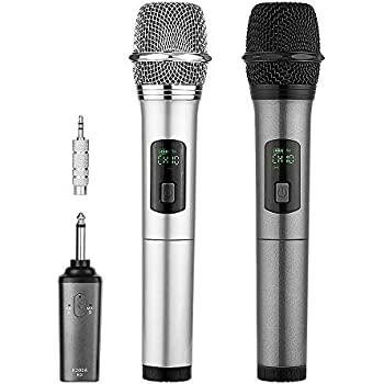 archeer dual bluetooth wireless microphone uhf handheld dynamic microphone with. Black Bedroom Furniture Sets. Home Design Ideas