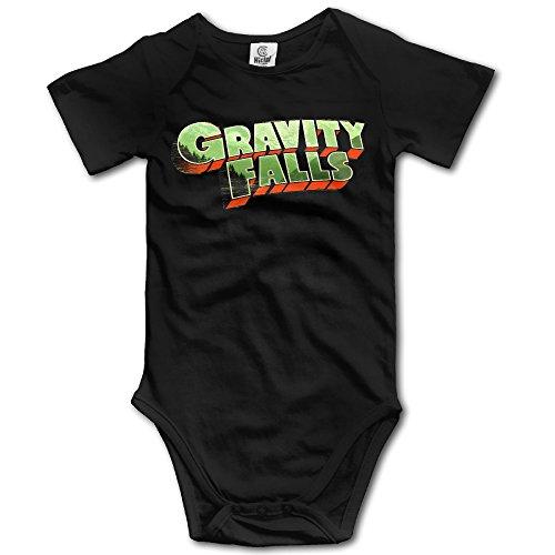 Duola Infants Boy's & Girl's Gravity Fall Short Sleeve Bodysuit Baby Onesie For 6-24 Months Black 6 M