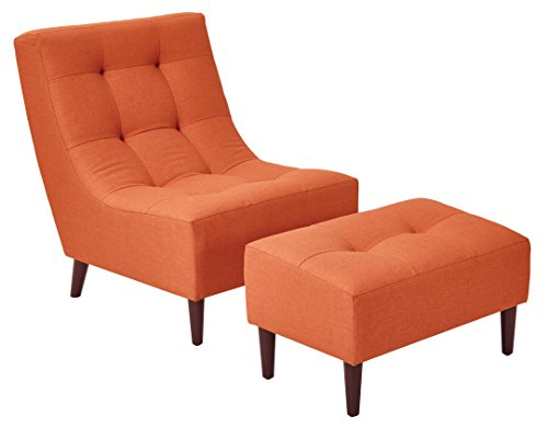 - Office Star Upholstered Hudson Chair and Ottoman Set with Espresso Finish Legs, Tangerine