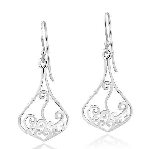 Dazzling Open Swirl .925 Sterling Silver Dangle Earrings ()