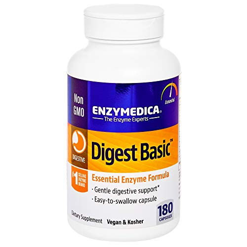 Plant Based Enzyme Formula - Enzymedica - Digest Basic, Essential, Full Spectrum Digestive Enzymes, 180 Capsules (FFP)