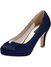 Women Comfortable Mid Heel Pumps Closed Toe Rhinestones...
