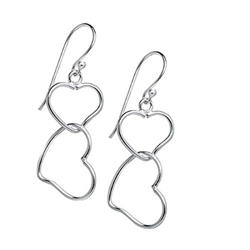 Double Heart Ring (VWH Women Girls Double Heart Shaped Earrings Hook Earrings, Silver)