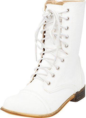 Cambridge Select Women's Closed Round Toe Lace-Up Chunky Low Heel Mid-Calf Combat Boot,10 B(M) US,White Pu