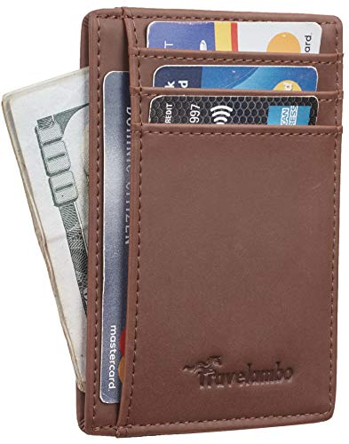 (Travelambo Front Pocket Minimalist Leather Slim Wallet RFID Blocking Medium Size(crazy horse deep brown))