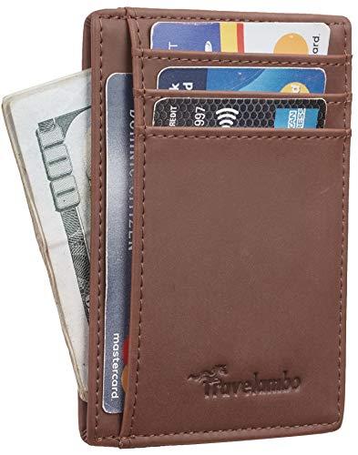 Black Seal Money Clip - Travelambo Front Pocket Minimalist Leather Slim Wallet RFID Blocking Medium Size(crazy horse deep brown)
