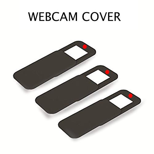 ZOOKYO Webcam Cover Slide for Laptop and Mobile, Ultra Thin, Online Security, Best Camera Cover Sticker for Amazon Echo MacBook iMac Smartphone Mac Tablet & Cellphone, 3M Adhesive (Black)