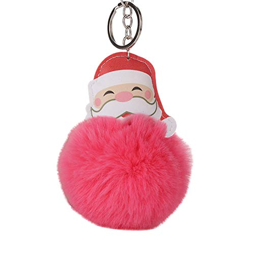 Slendima Cute Santa Claus Fluffy Ball Keychain Car Key Ring Handbag Bag Decor 12 Types Watermelon Red