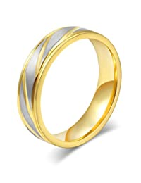 Stainless Steel Twill Wedding Ring for Couple Valentine Lover Engagement Promise,18k Gold Plated