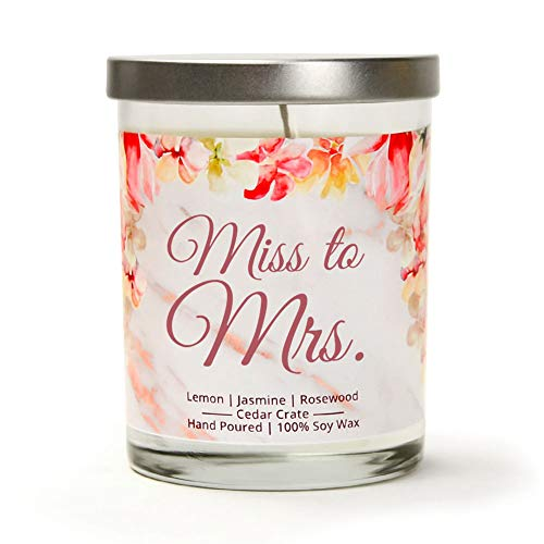 Miss to Mrs. | Lemon, Jasmine, Rosewood | Luxury Scented Soy Candle | 10 Oz. Jar Candle | Made in The USA | Unique Bride Gift for The Bride to Be for Bachelorette Parties, Bridal Showers, Wedding Day