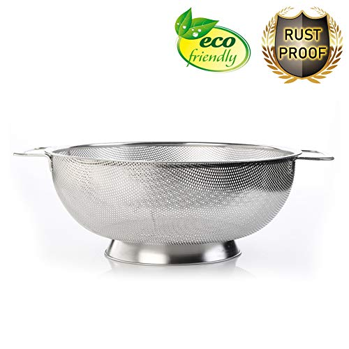 Micro Perforated Stainless Steel Colander, 5 Quart Strainer Basket for Pasta Noodles Spaghetti Fruits Vegetables Beans with Heavy Duty Handles and Self Draining Solid Ring Base ()