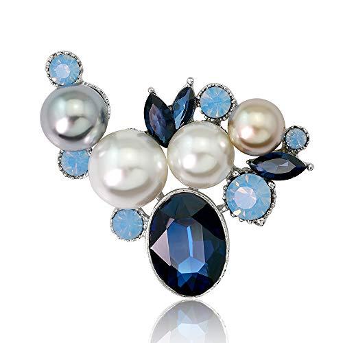 estone Brooch Glass Crystal Wedding Leaf Bouquet Pearl Brooch Pin for Women (Blue) ()