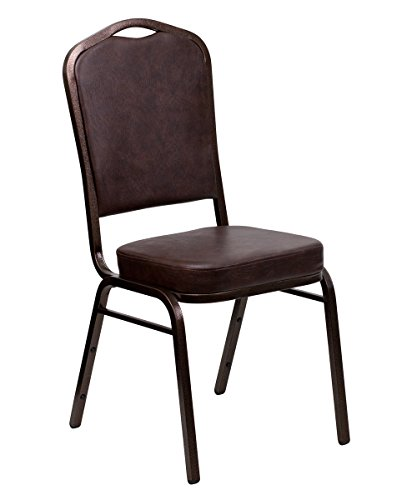 Offex OF-FD-C01-COPPER-BRN-VY-GG Hercules Series Crown Back Stacking Banquet Chair with Brown Vinyl and 2.5'' Thick Seat - Copper Vein Frame