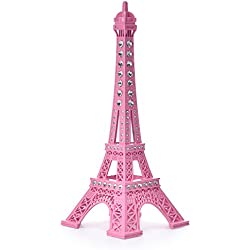 JoyFamily Eiffel Tower Cake Topper, 7 Inch (18 cm) Metal Paris Eiffel Tower Decor Statue Figurine Replica Drawing Room Table Decor for Gifts, Party And Home Decoration (Pink)