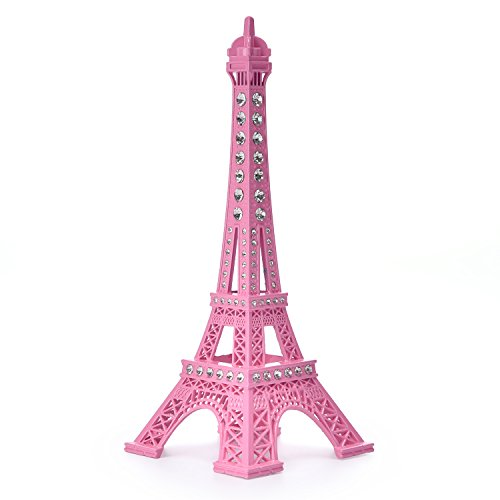 Price comparison product image JoyFamily Eiffel Tower Cake Topper,  7 Inch (18 cm) Metal Paris Eiffel Tower Decor Statue Figurine Replica Drawing Room Table Decor for Gifts,  Party And Home Decoration (Pink)