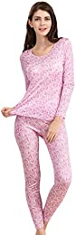 CLC Women's Pure Mulberry Silk Knitted Thermal Underwear Printing Pajama Sets