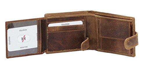 StarHide® Herren Qualität Braun Beunruhigt Jäger Leder Brieftasche Kommt In Einem Geschenkbox #710