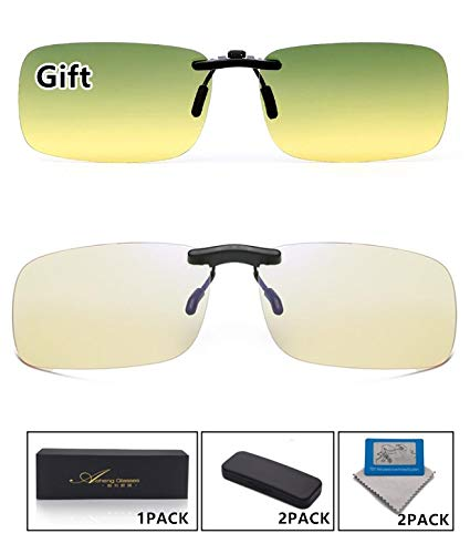 Blue Light Blocking [Rimless Frame] Computer Glasses Clip on Glasses, Anti UV Eye Strain Clear Lens Reading Video Eyewear by AoHeng (Image #6)
