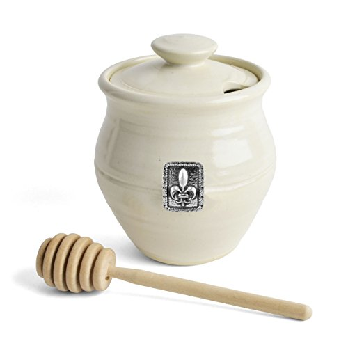 Thrown Stoneware Bowl (Oregon Stoneware Studio Fleur de Lys Honey Pot, Whipping Cream)