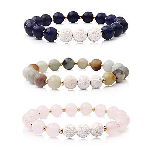 Bishun Aromatherapy Lava Stone Essential Oil Round Beads Bracelet Yoga Bracelet Crystal Reiki Gemstone Healing Balancing Bracelet ()