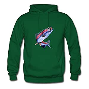 For Women Cotton Green Customized Casual Speacial Trout Hoodies X-large