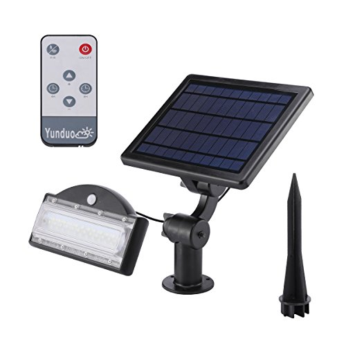 Solar Flood Light Outdoor Motion Sensor 800lm Landscape Solar Lights Waterproof Remote Control Solar LED Wall Lamp Security for Driveway Garage Yards Garden Lawn