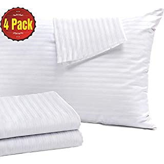 4 Pack Pillow Protectors Queen 20x30 Inches Life Time Replacement Tight Weave 3 Micron Pore Size Enhanced Protection 100% Cotton Sateen High Thread Count 400 Style Zippe (Queen 4 Pack Cotton Sateen)
