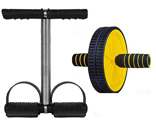 Sidhmart Tummy Trimmer Single Spring and Ab Wheel Roller Exerciser Combo for Gym Outdoor Exercise Equipment