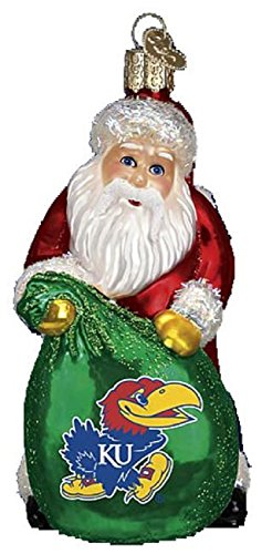 Old World Christmas University of Kansas Jayhawks Santa Glass Ornament 61111 -
