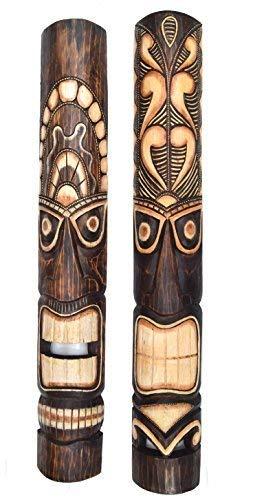 interlifestyle 2 Tiki Maschera da parete 100cm IM HAWAII stile Maschere di motivo maschera in legno Maske ISOLA DI PASQUA JR