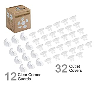 PandaEar Baby All in One Safety Proofing Kit Set 12 Clear Adhesive Soft Gel Corner Guard Protectors 32 Outlet Plug Covers  Easy Installation, for Furniture, Hard Edges, Tables, Electrical Hazards