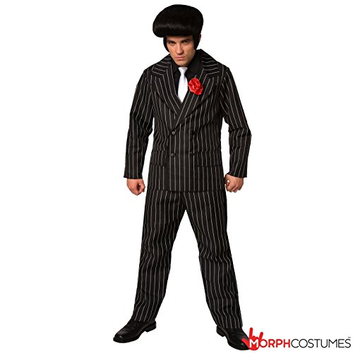 Mens Mafia Gangster Suit Criminal Fancy Dress Costume - 3 Piece Quality (Mens Mafia Costume)