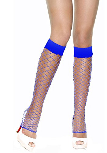 Fence Net Leg Warmers - Leg Avenue Women's Fence Net Leg Warmers, Royal Blue, One Size