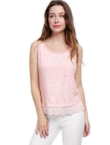 Allegra K Women's Scalloped Trim Scoop Neck Lace Overlay Tank Top M Pink